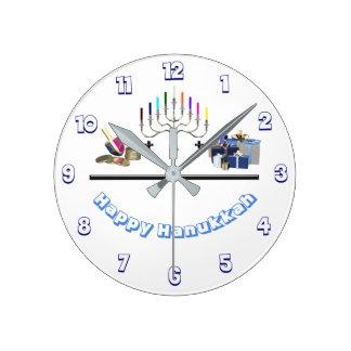 Happy Hanukkah ラウンド壁時計