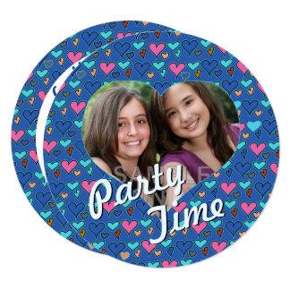 Happy Hearts 13th Twin Birthday Party Invitations カード
