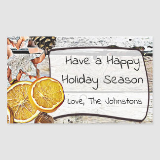 Happy Holiday Season Rustic Christmas Stickers 長方形シール