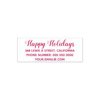 happy holidays address information red (optional) セルフインキングスタンプ