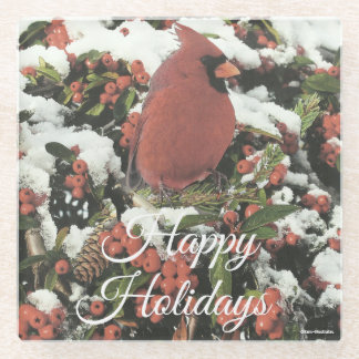 Happy Holidays Cardinal Glass Coaster ガラスコースター