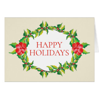 Happy Holidays Holly Berry Christmas Card カード