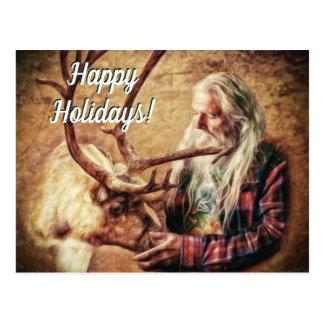 Happy Holidays Santa and Reindeer by Shawna Mac ポストカード