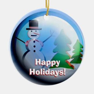 Happy Holidays Snow Globe Ornament セラミックオーナメント
