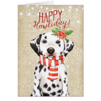 Happy Howliday christmas card dalmation holly カード