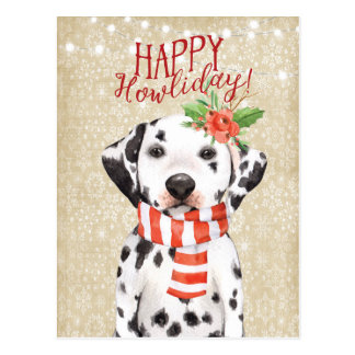 Happy Howliday christmas postcard dalmation holly ポストカード