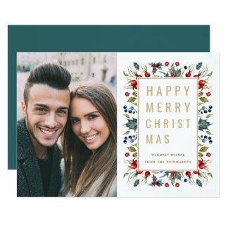 Happy Merry Christmas | Photo Holiday Flat Card 12.7 X 17.8 インビテーションカード