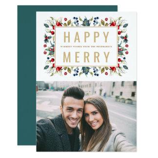 Happy Merry | Photo Holiday Flat Card 12.7 X 17.8 インビテーションカード