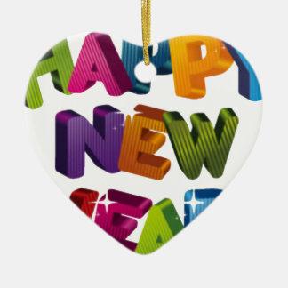 Happy New year 陶器製ハート型オーナメント