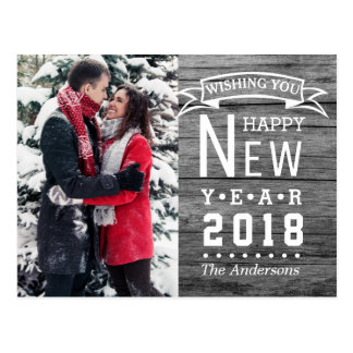 Happy New Year 2018 Typography   Holiday Photo ポストカード