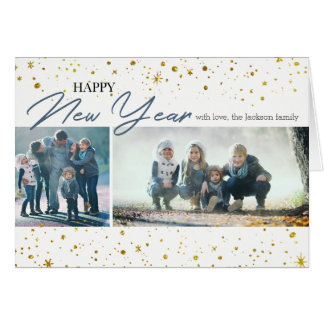 Happy New Year Gold Stars | 2 Photos Card カード
