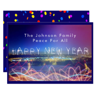 Happy New Year Over City Lights & Confetti Card カード