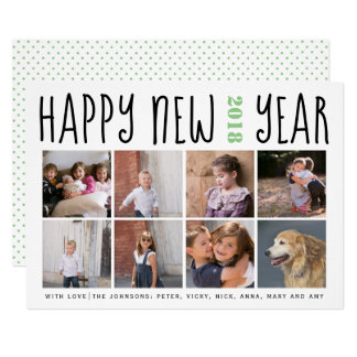 Happy New Year typography eight photo collage sage カード