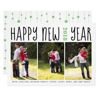 Happy New Year typography photo collage sage green カード