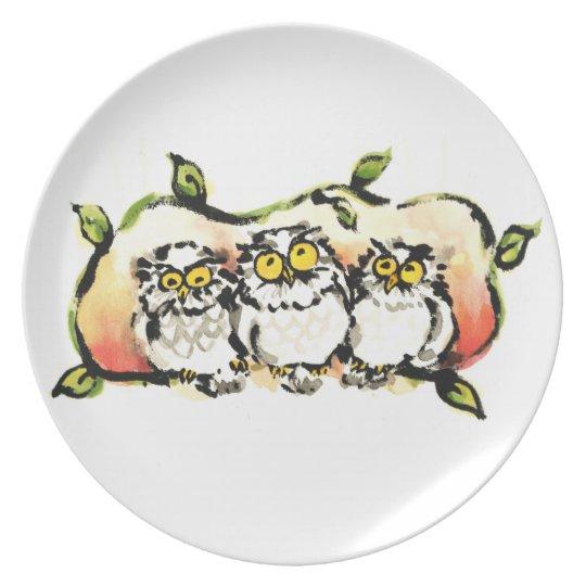 Happy owl brothers / ふくろう三兄弟 プレート