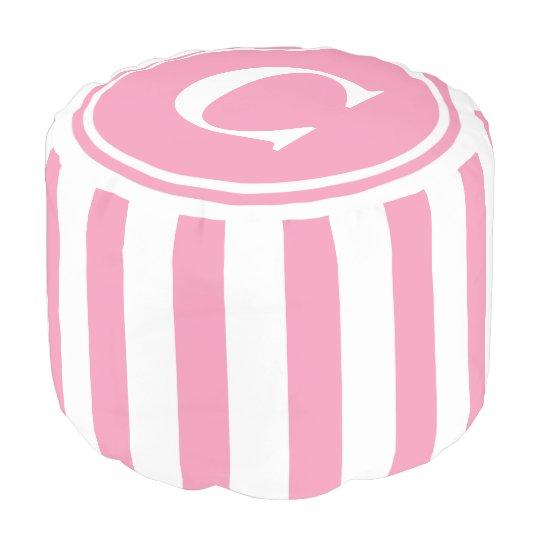 Happy Pink and White Stripes Monogram プーフ