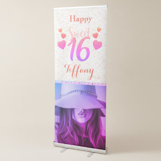 Happy sweet sixteen Floral Girly Party Banner 伸縮バナー