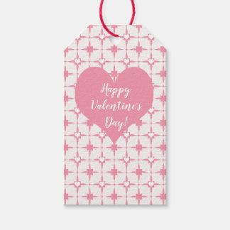 HappyValentineの日のピンクの白いハートパターン ギフトタグ