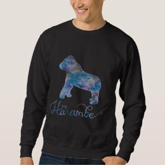 Harambeの水彩画の銀河系メンズスエットシャツ スウェットシャツ