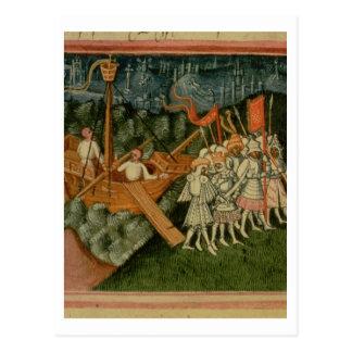 Harl 2278 f.98v王のSweynおよびDani到着 ポストカード