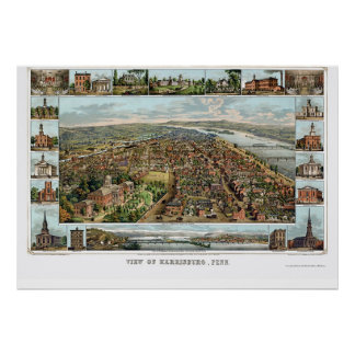 HarrisburgのPAのパノラマ式の地図- 1855年 ポスター