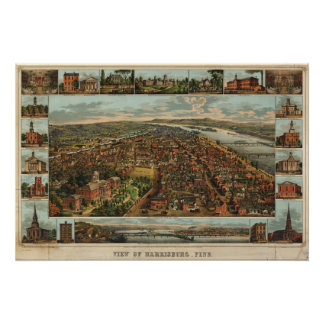 HarrisburgのPAの(1855年の)重版のウィリアムスの地図 ポスター