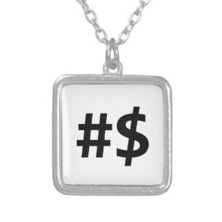 hashtagのお金 シルバープレートネックレス