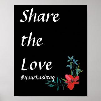 Hashtagの花の結婚の印 ポスター