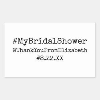 Hashtagの#Myブライダルシャワー 長方形シール