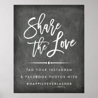 Hashtagを結婚する愛|黒板を共有して下さい ポスター