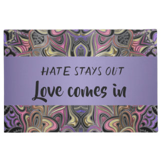 Hate Stays Out Love Comes In Mandala Doormat ドアマット