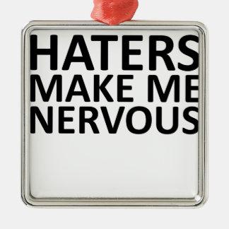 haters.pngについての真実 シルバーカラー正方形オーナメント