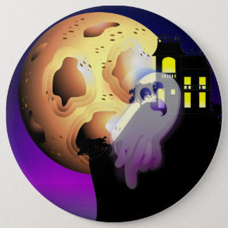 Haunted House, Moon and Ghost 15.2cm 丸型バッジ