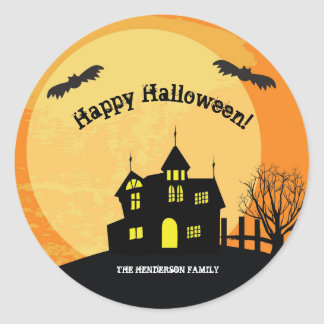Haunted house trick or treat stickers ラウンドシール