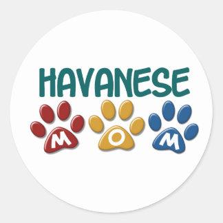 HAVANESEのお母さんの足のプリント1 ラウンドシール