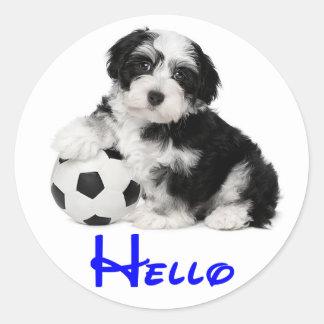 Havaneseの小犬のこんにちはステッカーのシール ラウンドシール