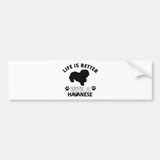 Havanese犬の品種デザイン バンパーステッカー