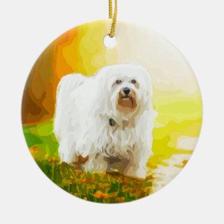 Havanese犬のBichonのポートレート セラミックオーナメント