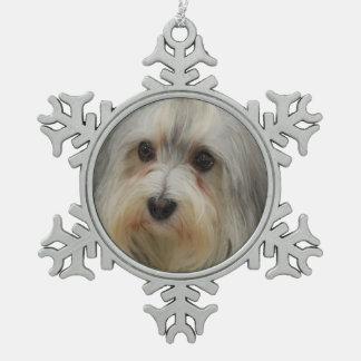 Havanese犬 スノーフレークピューターオーナメント