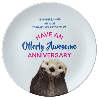 Have an Otterly Awesome Anniversary Cute Otter Pic 磁器プレート