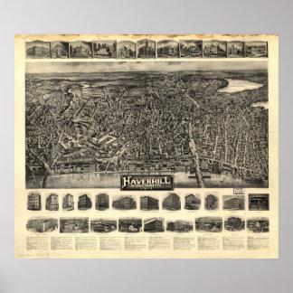 Haverhillの固まり。 1914旧式なパノラマ式の地図 ポスター