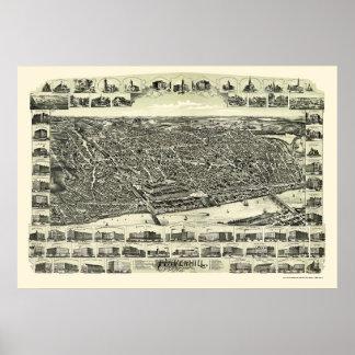 HaverhillのMAのパノラマ式の地図- 1893年 ポスター