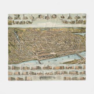 Haverhill MA (1893年)のヴィンテージの絵解き地図 フリースブランケット