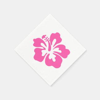 Hawaiiainのピンクの花のハイビスカスの熱帯花柄 スタンダードカクテルナプキン