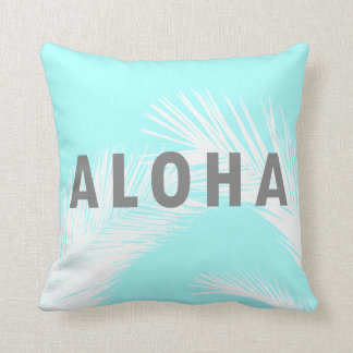 Hawaiian Aloha Grey Typography Palm Trees  Blue クッション