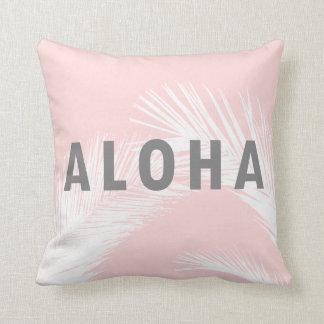 Hawaiian Aloha Grey Typography Palm Trees  Pink クッション