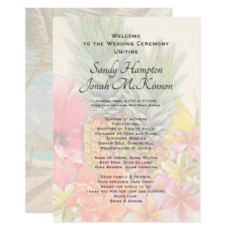 Hawaiian Flowers Pineapples Short Ceremony Program カード