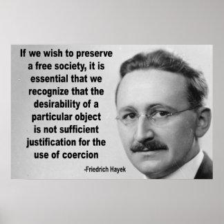 Hayekの自由社会の引用文 ポスター