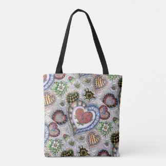 Hearts and Flowers, all over pattern Tote トートバッグ