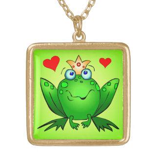 Hearts Cute Green Cartoonカエルの王子 ゴールドプレートネックレス